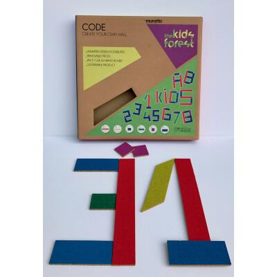 Letters numbers from cork code 20 parts self-adhesive different colors