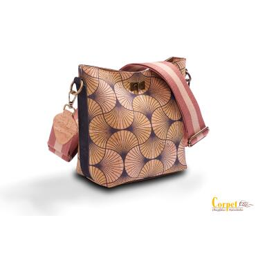 Shoulder bag Roma - modern yellow design with twist lock...